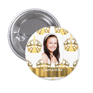 White and gold crowns pinback buttons