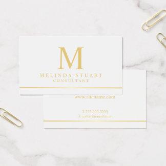 White and Gold Elegant Monogram Business Card