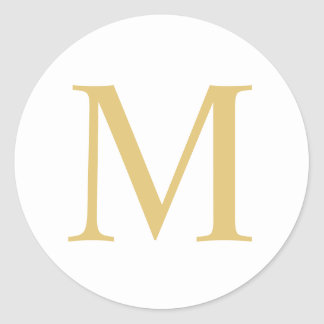 White and Gold Elegant Monogram Classic Round Sticker