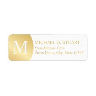 White and Gold Elegant Monogram Return Address Label
