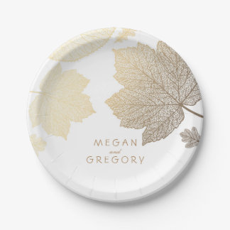 White and Gold Fall Leaves Wedding Paper Plate