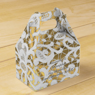 White and gold  filigree lace damask wedding favour box