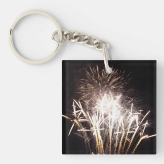 White and Gold Fireworks I Patriotic Celebration Double-Sided Square Acrylic Key Ring