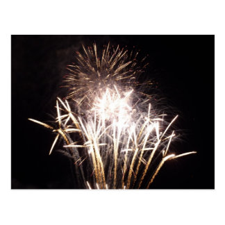 White and Gold Fireworks I Patriotic Celebration Postcard