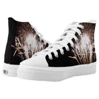 White and Gold Fireworks I Patriotic Celebration Printed Shoes