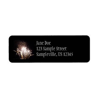White and Gold Fireworks I Patriotic Celebration Return Address Label