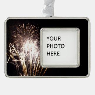 White and Gold Fireworks I Patriotic Celebration Silver Plated Framed Ornament