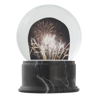 White and Gold Fireworks I Patriotic Celebration Snow Globe