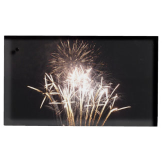 White and Gold Fireworks I Patriotic Celebration Table Card Holder