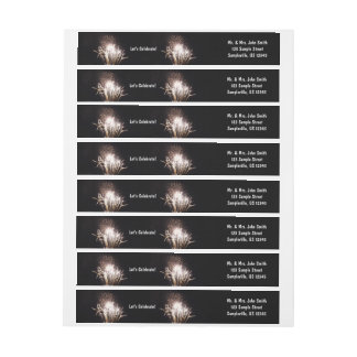 White and Gold Fireworks I Patriotic Celebration Wrap Around Label