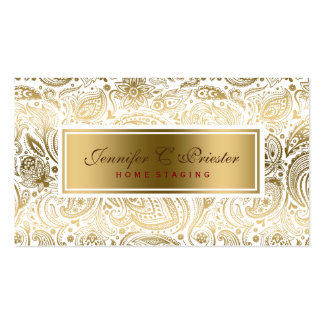 White And Gold Floral Lace Paisley Pack Of Standard Business Cards