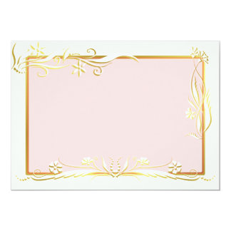 """White and gold floral ornament 5"""" x 7"""" invitation card"""