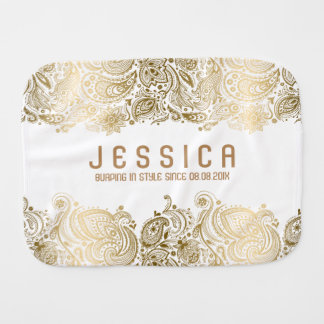 White And Gold Floral Paisley Lace Baby Burp Cloths