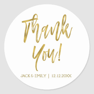 White and Gold Foil Photo Thank You Sticker