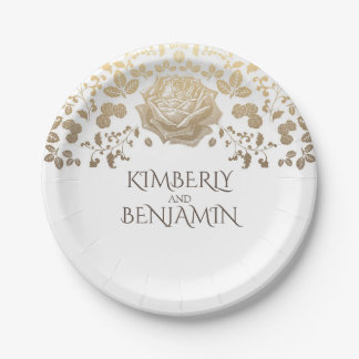 White and Gold Foliage Elegant Vintage Wedding Paper Plate