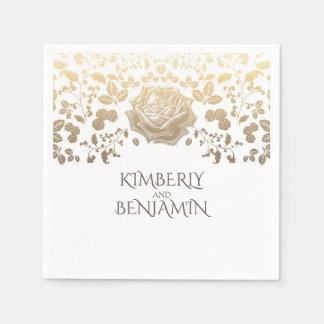 White and Gold Foliage Elegant Wedding Paper Napkin