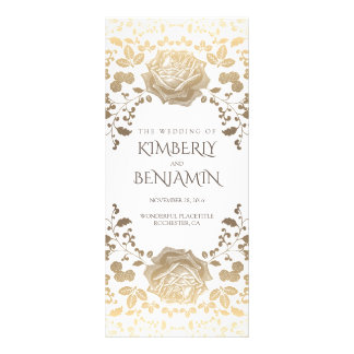 White and Gold Foliage Vintage Wedding Programs Rack Card