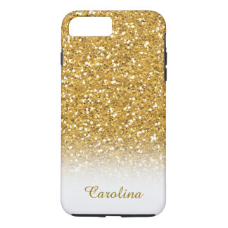 White and Gold Glitter, Personalised with Name iPhone 8 Plus/7 Plus Case