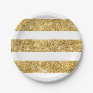 White and Gold Glitter Stripes Wedding Paper Plate