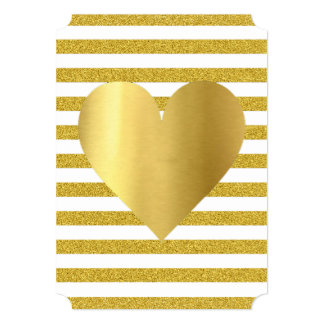 White And Gold Heart Stripes Party Invitation