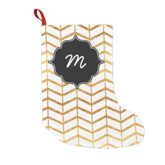 White and Gold Herringbone Quatrefoil Small Christmas Stocking