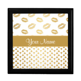 White and Gold Kisses and Love Hearts Gift Box