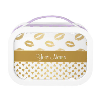 White and Gold Kisses and Love Hearts Lunchbox