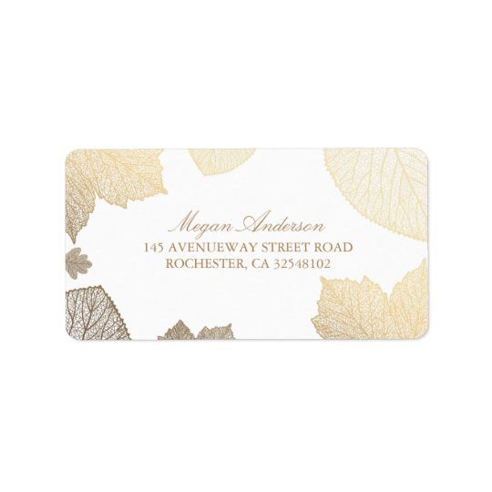 white and Gold Leaves Fall Wedding Label
