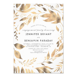 White and Gold Leaves Laurel Fall Engagement Party Card