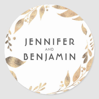 White and Gold Leaves Laurel Wedding Classic Round Sticker