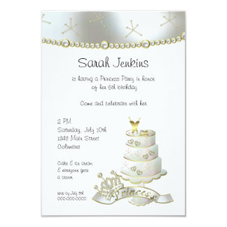 White and Gold Little Princess Party Card