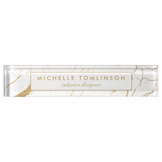 White and Gold Marble Designer Nameplate