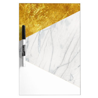 White and Gold Marble Dry-Erase Board