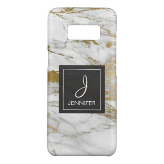 White and Gold Marble Elegant Monogram Case-Mate Samsung Galaxy S8 Case