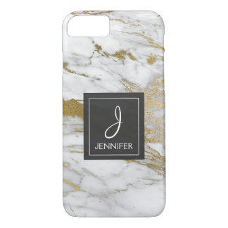 White and Gold Marble Elegant Monogram iPhone 8/7 Case