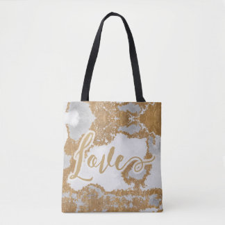 White and Gold Marble Love and Hope Tote Bag