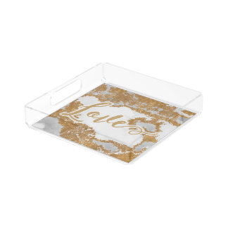 White and Gold Marble Modern Acrylic Tray