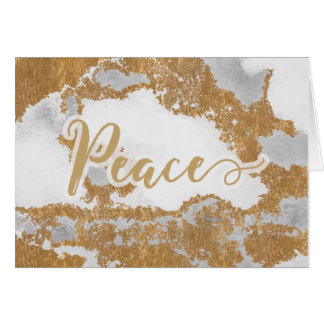 White and Gold Marble Modern holiday greeting Card