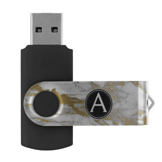 White and Gold Marble Monogram USB Thumb Drive