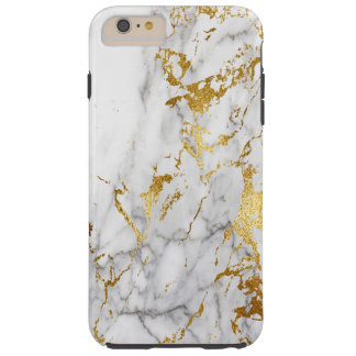 White and Gold Marble Pattern Trending Urban Tough iPhone 6 Plus Case