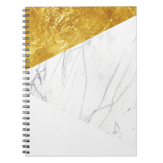 White and Gold Marble Spiral Note Book