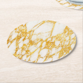 white and gold marble stone round paper coaster