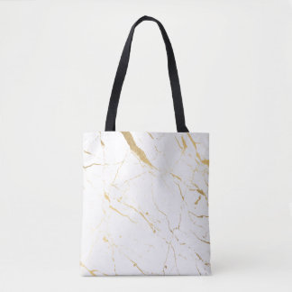 White and Gold Marble Tote Bag