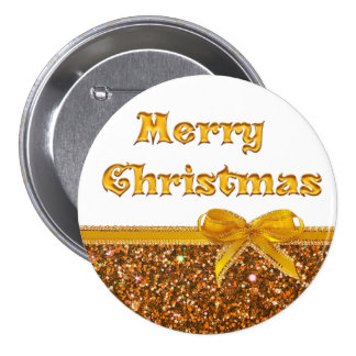 White and Gold Merry Christmas Button