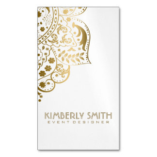 White And Gold Ornament Magnetic Business Card