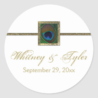 White and Gold Peacock Feather Wedding Sticker