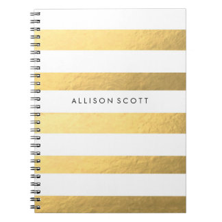 White And Gold Personalised Notebook