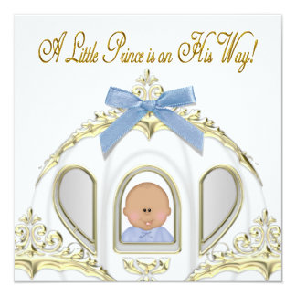 White and Gold Prince African American Baby Shower Card
