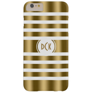 White And Gold Random Stripes Barely There iPhone 6 Plus Case