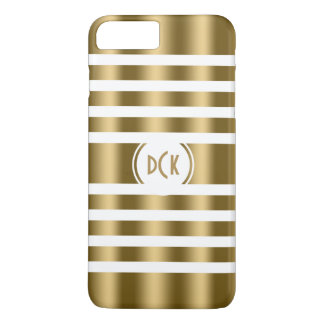 White And Gold Random Stripes iPhone 7 Plus Case